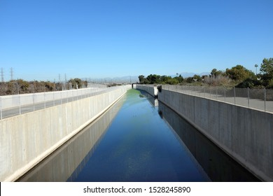 Greenville-Banning flood control channel in Costa Mesa, California. The channel provides storm water conveyance for portions of the cities of Santa Ana and Costa Mesa.