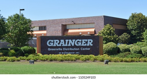 Greenville,SC/USA-June 4 2018: The W.W. Grainger Greenville (SC) Distribution Center is shown (in part). This street facing side of the building is only a small part of this facility.