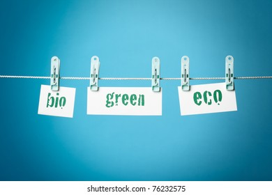 Greenwashing concept with buzzwords green, bio and eco