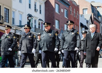 "Greenwich, CT, USA - March 22, 2015: The individuas are some of the many participants in the  ""Annual St. Patrick's Day"" parade held on March 22nd, 2015, in downtown Greenwich Connecticut."