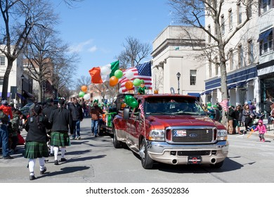 """Greenwich, CT, USA - March 22, 2015: The individuals are some of the many participants in the  """"Annual St. Patrick's Day"""" parade held on March 22, 2015 in downtown Greenwich Connecticut."""