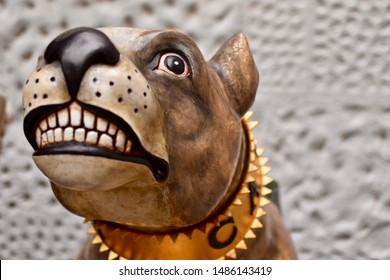 Greenwich, London, UK - April 19 2019 - Bulldog face from a ships figurehead in the Greenwich maritime museum