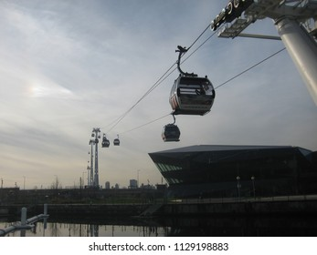 Greenwich, London, UK on 24.11.2014: The Emirates Air Line Ropeway across the Thames River between Greenwich Peninsula and Royal Docks