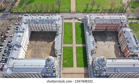Greenwich, London / United Kingdom - March 15 2019: Aerial bird's eye view photo taken by drone of iconic Greenwich University in Park of Greenwich