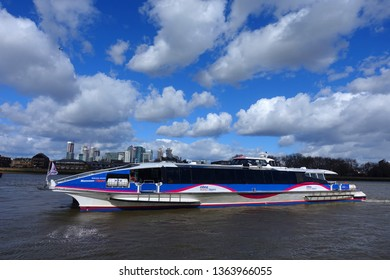 Greenwich, London / United Kingdom - March 20 2019: Photo from Greenwich pier in river Thames