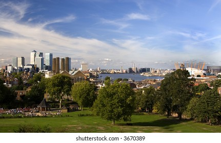 Greenwich Park in London with view over Canary Wharf, Millennium Dome and City.