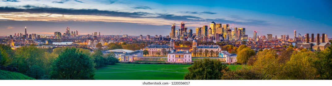 Greenwich Park with skyline panorama of London at sunset