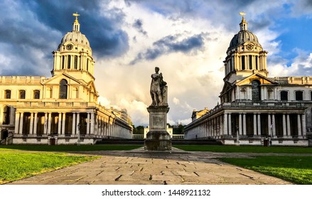 Greenwich university domes in the sunrise beautiful architecture under a dramatic sky.