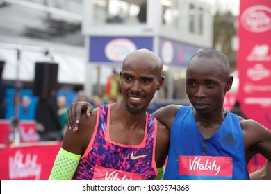 Greenwich,UK,March 4th 2018,Mo Farah wins The Vitality Big Half which is a new half marathon starting at Tower Bridge and finishing by the Cutty Sark in Greenwich.