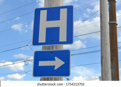 Greenwood, Indiana / United States - June 11 2020: Directions to a Hospital  Signage