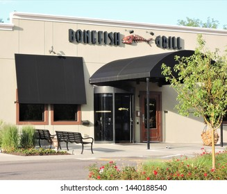 Greenwood Village, CO, USA. June 29, 2019. Bonefish Grill is an American casual dining seafood restaurant chain. This one is located at 4948 S. Yosemite St.