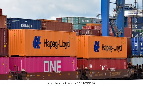 Greer,SC/USA-July 24 2018: Containers are stacked high at Inland Port Greer container port of the South Carolina Ports Authority on July 24 2018.