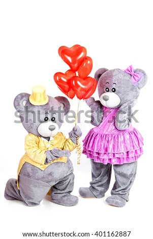 Greeting Birthday Card Grey Teddy Bear Gives Balloons To His Girlfriend