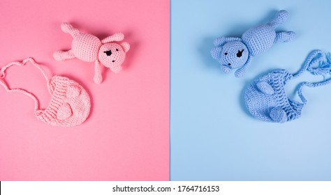 Greeting card for Baby shower party decoration.  Babies hat and teddy bear colors pink and blue. Girl or Boy.
