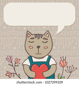Greeting card, banner template with cute cat holding heart, doodle flowers and empty speech bubble for text, illustration. Valentine greeting card template with funny cat and place for text
