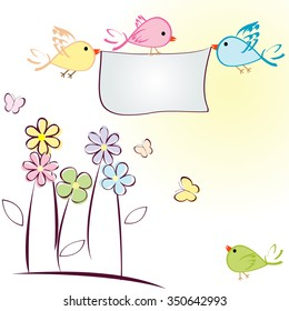 Greeting card with birds, flowers and butterflies