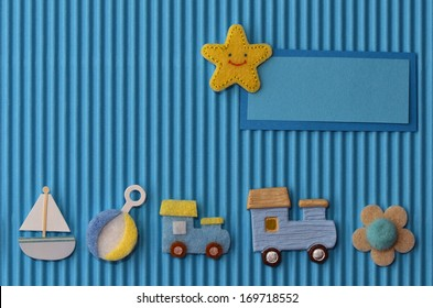 Greeting card for boy with toys and star (place for baby name)