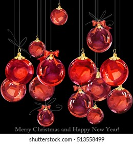 greeting card with christmas ball. New Year watercolor background.