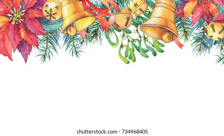 Greeting card with Christmas tree, poinsettia, holly, bell. Watercolor hand drawn painting illustration isolated on white background.