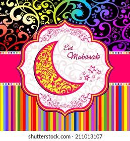 Greeting card. Colorful moon for Muslim community festival Eid Mubarak. Illustration