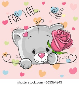 Greeting card cute cartoon Kitten with flower on a pink background
