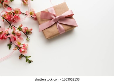 greeting card design. gift concept. gift box, flowers and an envelope on a white background. invitation. congratulation - Shutterstock ID 1683052138