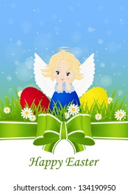 greeting card for Easter with little angel and painted eggs