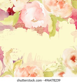 Greeting card with flowers. Pastel colors. Handmade. Watercolor painting.