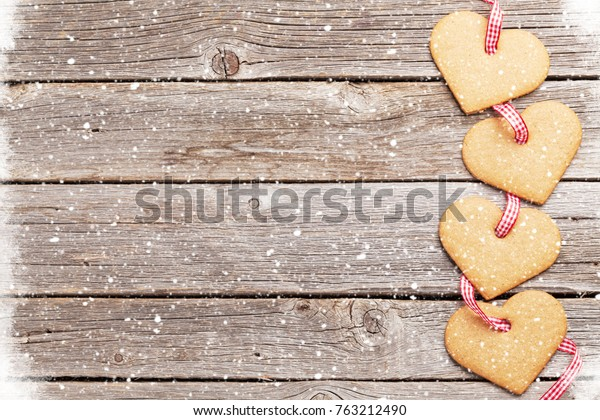 Greeting Card Gingerbread Heart Cookies Over Stock Photo Edit Now