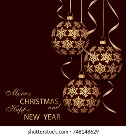 Greeting card with golden Christmas balls and space for text. Holiday decorations. Festive background. Merry Christmas and Happy New Year.