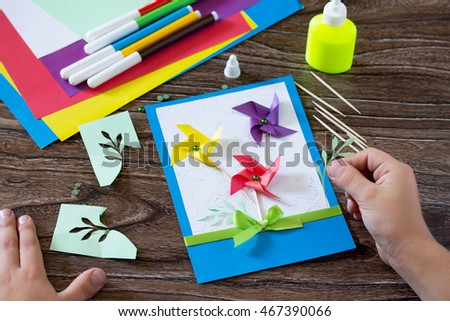 Greeting card handmade birthday flowers branches stock photo edit greeting card handmade birthday flowers and branches child sticking parts of the paper m4hsunfo