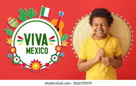 Greeting card for Independence day of Mexico with Mexican boy in sombrero