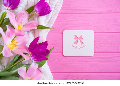 """Greeting card with inscription """"Best wishes"""" and tender bouquet of beautiful tulips on pink wooden background. Concept of spring gift."""
