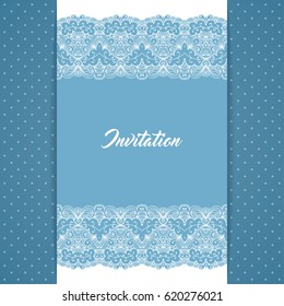 Greeting card or invitation template in retro style with lace border and polka dot background. Illustration