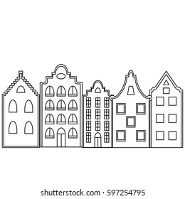 Greeting card or invitation template with space for text. Stylized european town. Raster version.