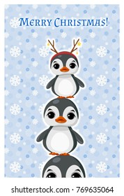 "Greeting card ""Merry Christmas"" with ?ute penguin in winter clothes."