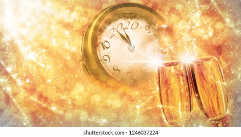 Greeting card for the new year 2020, sect and clock