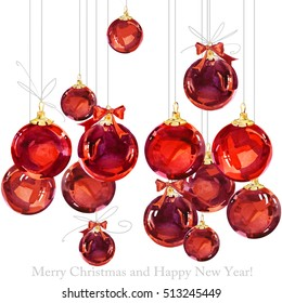 greeting card. New Year watercolor background. Merry Christmas.