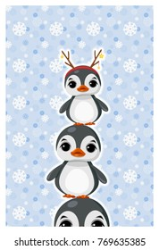 Greeting card with ?ute penguin in winter clothes.