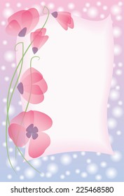 Greeting card with pink poppies.