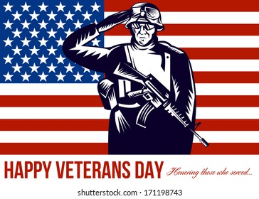 Greeting card poster showing illustration of an American soldier with bugle and stars and stripes flag set inside ellipse retro style with words Happy Veterans Day with sincere thanks for our freedom.
