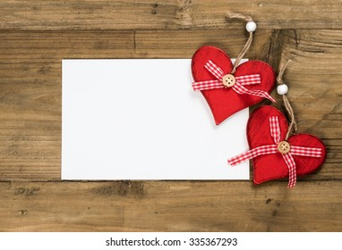 Greeting Card with Red Hearts. Copy space and place for photo or text.