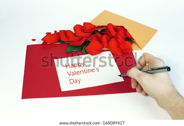 Greeting card with rose petals. Yellow, red, white background. Happy Valentine's Day