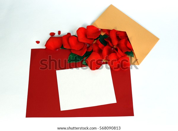 Greeting card with rose petals. Yellow, red, white background
