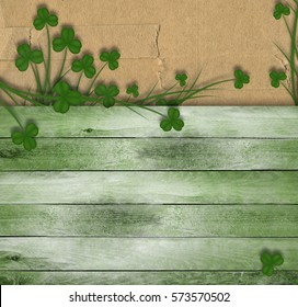 Greeting Card St. Patrick on old wooden background with green leaves of clover