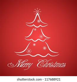 Greeting card with stylized Christmas three. Raster version