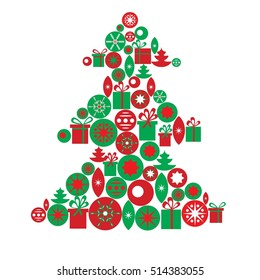 Greeting card template. Christmas tree made of gifts and toys. Raster version.