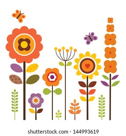 Spring flower clipart stock images royalty free images vectors greeting card template with retro style flowers isolated on white for framing birthday mightylinksfo