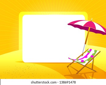 Greeting card with umbrella and beach chair on a yellow background