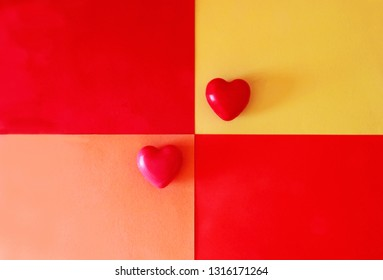 greeting card with vibrant colors and two hearts
